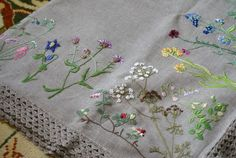 Daiva Rudminiene: Large Linen Tablecloth with Embroidered Wildflowers