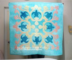 -Hawaiian quilt by Hawaiian Quilt Patterns, Hawaiian Pattern, Hawaiian Quilts, Sea Turtle Quilts, Hawaiian Sea Turtle, Turtle Pattern, Hawaiian Flowers, Quilting Designs, Baby Quilts