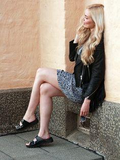 Dress, Rut&Circle / leather jacket, H&M / sandals, sixtyseven // Kia Karin