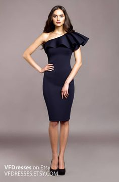 """One shoulder Ruffle dress. Dark blue Cocktail made of trendy material """"Neoprene"""" Super beautiful and stylish dress from the collection """"Secret"""" 2017 This dress per. Cute Formal Dresses, Stylish Dresses, Elegant Dresses, Casual Dresses, Short Dresses, Special Dresses, Dresses Dresses, Wedding Dresses, Dress Outfits"""