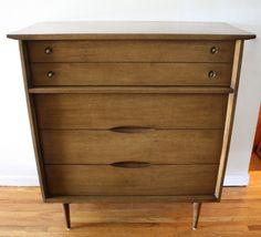 Mid century modern tall dresser by Bassett
