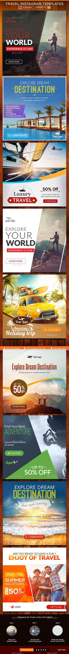 Travel Instagram Templates - 9 Designs  #design #ads #web Download: http://graphicriver.net/item/travel-instagram-templates-9-designs/12482524?ref=ksioks