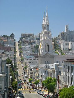 Looking down Filbert Street in North Beach, San Francisco. Saints Peter and Paul Church towers over the neighborhood