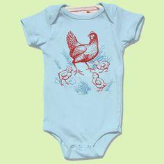 awesome chicken organic blue infant bodysuit onesie by Little Lark