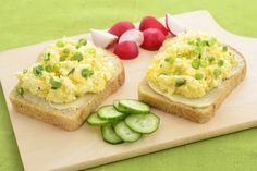 Open face egg salad sandwich with radish and cucumber slices - stock photo Sandwich Recipes For Kids, Egg Salad Sandwiches, Slice Of Bread, Minion, Avocado Toast, Kids Meals, Waffles, Healthy Recipes, Minions