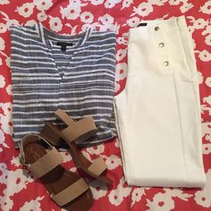 J. Crew Blue/Gray & White Striped Top Blue grayish and white striped too that is super lightweight and perfect for summer to pair with shorts. Worn once or twice and in good condition, there is one or two small pulled places in the fabric (picture 4) but they are not noticeable. J. Crew Tops
