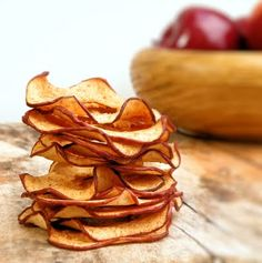 Apple Chips – 2 large apples, cored (Red Delicious)/2 T. sugar (optional)/1 t. cinnamon/canola oil spray