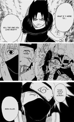 Sasuke thinks he's put Kakashi in a difficult spot, but doesn't realize those people have already been taken. my poor kakashi says it with a smile but he is truly sad inside Anime Naruto, Naruto Shippuden, Boruto, Kakashi Hatake, Sharingan Kakashi, Manga Anime, Comic Manga, All Anime, Narusaku