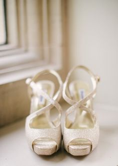 Sparkly metallic peep toe sandals. Photography by Hannah Duffy