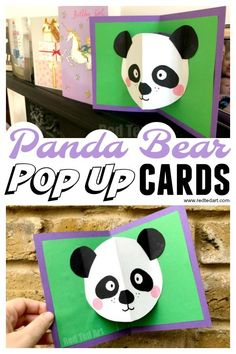 Easy Panda Pop Up Card. How to make a panda pop up card. How to make an easy pop up card. How to make pop up cards. Panda Party, Paper Crafts For Kids, Easy Crafts For Kids, Panda Craft, Panda Birthday, Happy Birthday, Kids Pop, Animal Crafts For Kids, Up Book