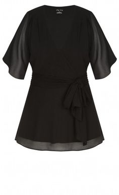 Be sexy, be chic, be styled in the Elegant Wrap Top. Key Features Include: - Sheer shoulder & arm coverage - Lightweight non-stretch fabrication - Faux wrap V neckline - Pussy bow waist tie feature - Side invisible zip closure Shoulder Arms, City Chic, Black Tops, Plus Size, Lingerie, Elegant, Sexy, Womens Fashion, Fabric