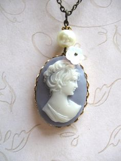 Cameo lady necklace, blue wedgewood, Victorian style, oxidized brass setting... love cameos!