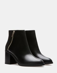 Combined ankle boots with zip detail - All Bootie Boots, Ankle Boots, Leather Brogues, Thick Heels, Kinds Of Shoes, Shoe Closet, Me Too Shoes, Fashion Shoes, Footwear