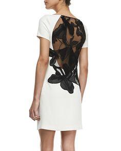 Halston Heritage Crepe Cap-Sleeve Floral Inset Sheath Dress - Neiman Marcus