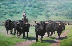 El Encierro, Óleo Sobre Lienzo,  Walter Zuluaga Pintor Colombiano Pintura Realista de Toros Lidia en Campo Arte Realista Toros Lidia