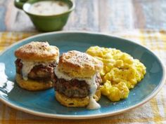 Bobby's Brunch Buttermilk Biscuits with Eggs and Sausage Gravy : Recipes : Cooking Channel