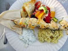 Greek Dinner Party | Chicken Souvlaki Plate- Just the recipe for the rice with feta sounds fantastic!