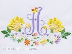 Free Embroidery Design: Floral Font – Letter A