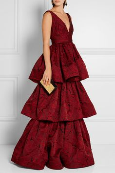 Black and burgundy fil coupé organza Concealed hook and zip fastening at back…