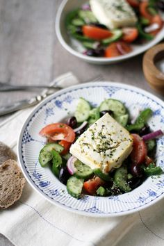 Greek salad with feta cheese Tasty, Yummy Food, Greek Salad, Vegetarian Food, Feta, Waiting, Cheese, Delicious Food, Vegetarian Cooking