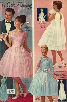1960s Fashion Women, 60s And 70s Fashion, Vintage Fashion 1950s, Retro Fashion, Vintage Style Dresses, Vintage Outfits, 1960s Outfits, Retro Mode, Vintage Prom