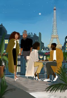 Founder of Nicholle Kobi Studios and Nikisgroove Brand. Nicholle is Black French Illustrator mostly know for her Black women 's Art work Nicholle Kobi is also a Visual Artist , Fashion enthusiast , a Speaker. Black Couple Art, Black Love Art, Black Girl Art, Paris Illustration, Couple Illustration, Illustrations, Black Art Painting, Black Artwork, Black Cartoon