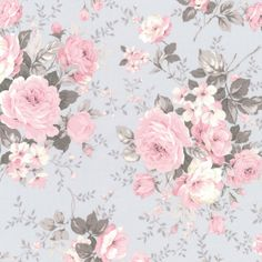 Grey Rose Bouquet - 15yds, 100% Cotton, 44in