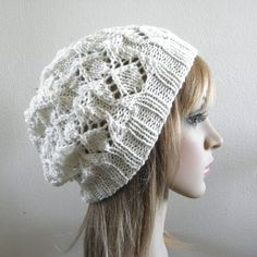 Lacy beret slouchy hat hand knit cream white ivory pure by baboom (Accessories, Hat, Knit, beret slouch warm, slouchy winter, wool hand knit, handknitted hat, autumn fall hat, hand knit beret, knit white wool hat, knitted cream hat, knit creamy beret, women ivory hat, cream white slouch, slouchy tam touque, hand knit light hat)