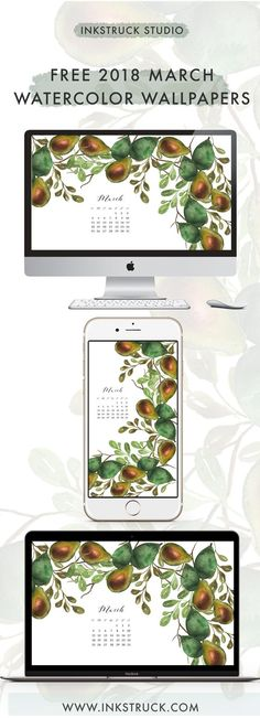 Get hold of my free 2018 March watercolor wallpapers from this blog post. They're available undated as well - Inkstruck Studio