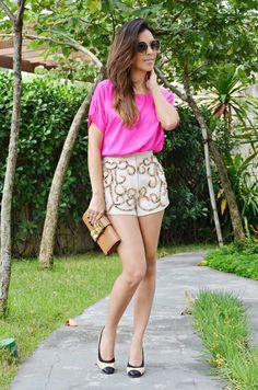 Short e blusa pink