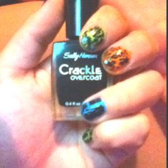 Crackle nail polish over neon colors