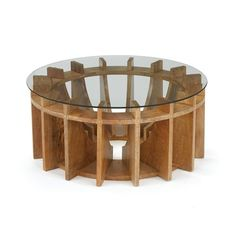 Geometric wooden coffee table with a glass top. Architectural, sleek lines give great dimension and interest to this dial or gear shaped side table. See our listings for the matching side or console t Types Of Coffee Tables, Unique Coffee Table, Diy Coffee Table, Design Salon, Deco Design, Wood Design, Unique Furniture, Wooden Furniture, Furniture Design