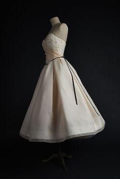Robe de mariée 1950 organza perles