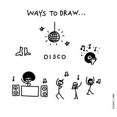 Word of day 23 Ways to draw disco. Word Drawings, Doodle Drawings, Easy Drawings, Doodle Art, Visual Note Taking, Note Doodles, Saturday Night Fever, Sketch Notes, Visual Diary