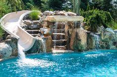 Swimming Pool W Water Slide Amp Waterfalls Pool Waterfall