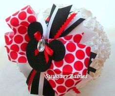 Minnie Mouse Bow, Disney Bow, Minnie Mouse Hairbow, Disney Hairbow, Boutique Bow, Over the Top Bow. $12.00, via Etsy.