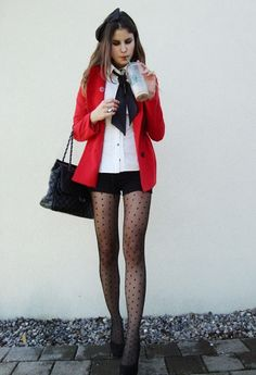 Black tights and red
