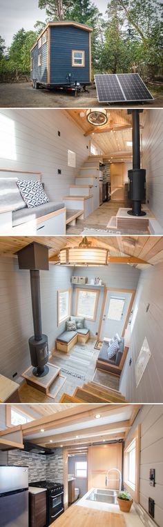This 24' craftsman cabin is the 250-square-foot Blue Heron by Rewild Homes. The off-grid ready tiny house includes a solar panel array and battery system.