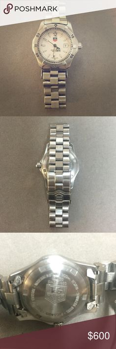 Ladies Tag Heuer Professional 200 Meter Make me an offer!!! In EXCELLENT condition. Very light signs of wear. White dial with glow in the dark numeric markers and second hand. Amazing watch just cleaning shop and upgrading. Recently had new battery installed and had it polished. Tag Heuer Accessories Watches