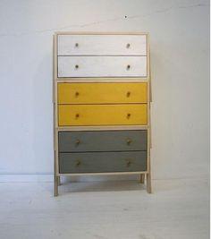gray, yellow, white painted dresser