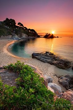 Sunset on the Beach at Girona, Spain - #amazing #awesome #sunset - Explore the World, one Country at a Time. http://TravelNerdNici.com
