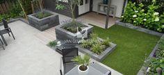 Moderne onderhoudsvrije tuin met kunstgras