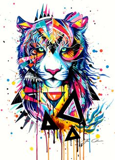 Tiger -on sale- by PixieCold.deviantart.com on @deviantART     -awesome pop-art painting-