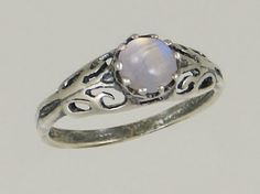 A Beautiful Sterling Silver Filigree Ring Featuring a Lovely Rainbow Moonstone Gemstone The Silver Dragon- Rings,