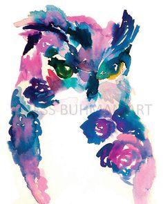 Oscar the Owl by Jessica Buhman Print of Original Watercolor Painting Pink Blue Owl Art