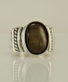 Pure 925 Sterling Silver Ring Pear Natural Diamond-Cut Calcédoine Bague Femmes