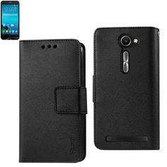 Reiko Wallet Case 3 In 1 For Asus Zenfone 2E Black With Interior Leather-Like Material And Polymer Cover