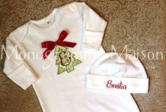 Baby's First Christmas outfit Christmas Baby by MonogrammeMaison, $40.00