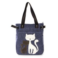 Lovely Cats with Faux Fur and Studs Canvas Tote Bag Handbag Purse #SleepyvilleCritters #shouldercanvasdenimtote