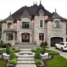Modern architecture house design with minimalist style and luxury exterior and interior and using the perfect lighting style is inspiration for villas mansions penthouses Future House, My House, Castle House, Sell House, Mansion Homes, Dream Mansion, Small Mansion, Stone Mansion, Modern Mansion